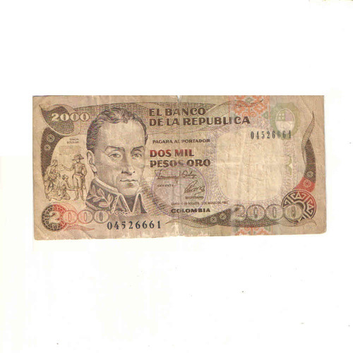 Imagen 1 de 2 de Billete De 2000 Pesos Oro De Colombia