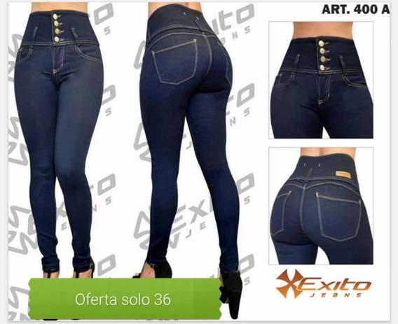 Jeans Tiro Alto Color Azul