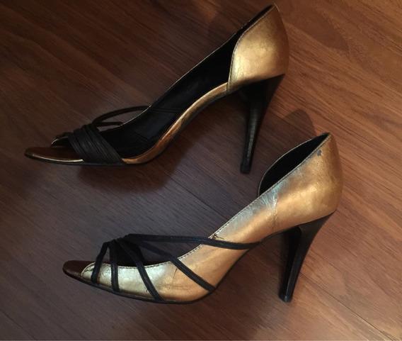 Sapato Social Dourado Com Preto Num 36