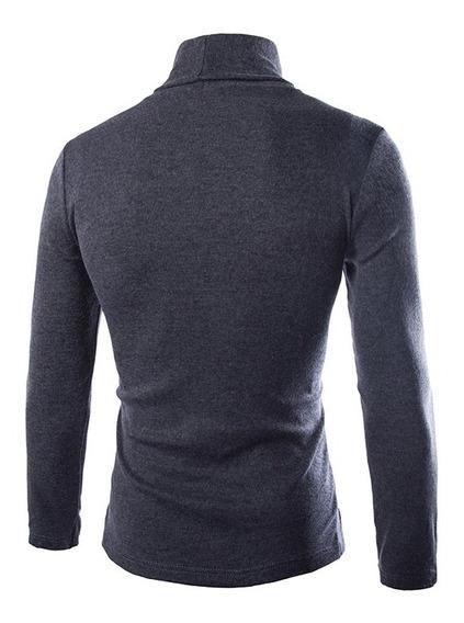 Moda Camiseta De Manga Larga Cuello Alto Para Caballero-gris