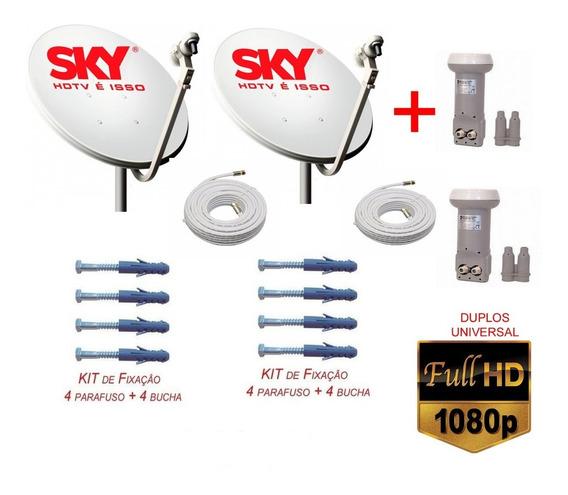 2 Antenas Banda Ku Lnb Duplos+cabo+conector Completona