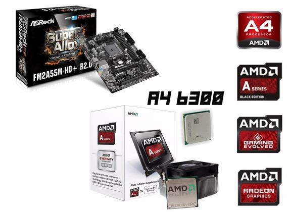Kit Amd Fm2 Fm2a55m-hd + Processador Amd A4 6300 3.8ghz Hdmi