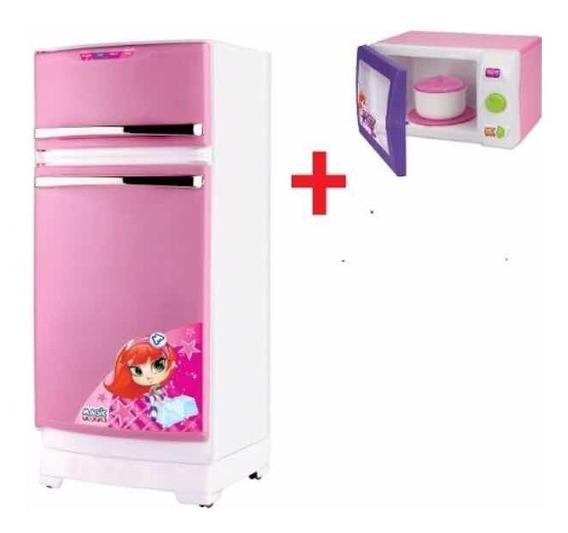 Geladeira Mágica + Microondas Para Cozinha Infantil