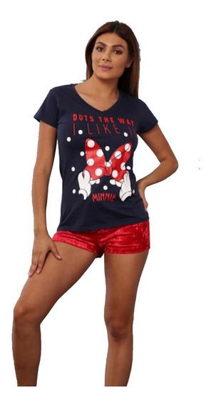 Pijama Para Dama Minnie Mouse Blusa Short Terciopelo 8080
