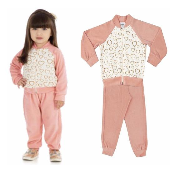 Conjunto Infantil Menina Jaqueta Calça Plush Rovitex 01 E 02
