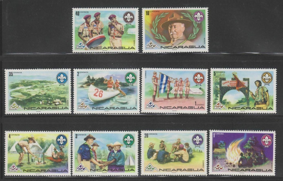 1975 Movimiento Boy Scouts- Nicaragua (serie) Mnh