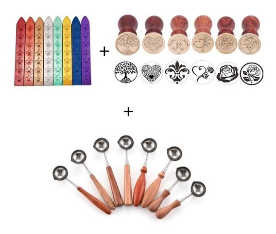 Kit Lacre Selos 5 Ceras + 1 Colher + 1 Sinete