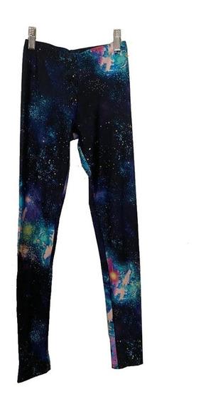 Calzas De Lycra Brillante Cintura Con Elástico Motivo Galaxi