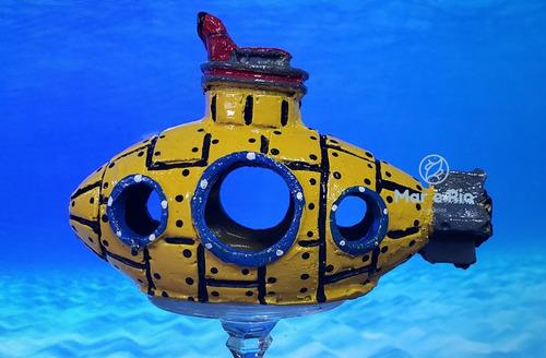 Imagem 1 de 6 de Enfeite Aquário Toca Submarino Amarelo Yellow Submarine