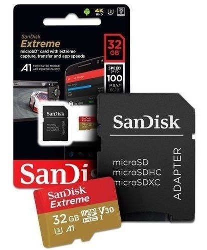 Cartão Memória Sandisk 32gb Extreme 100 Mb/s Micro Sd
