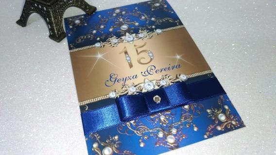Convite 15 Anos Azul Royal Db81 - Kit 100 Unidades