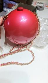 Bolsa Balada Clutch Redonda Rosa Pink Com Alça Corrente