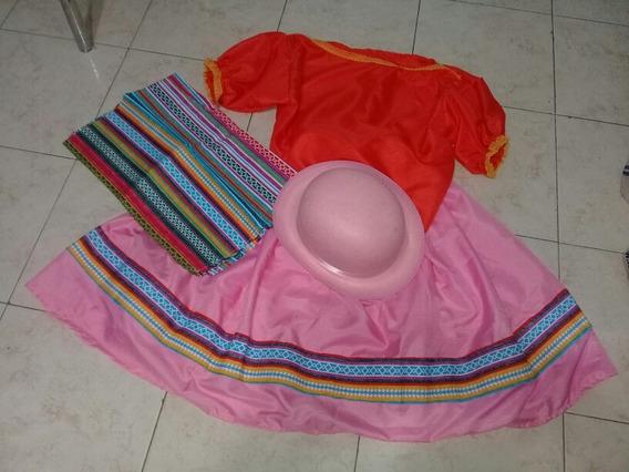 Pollera Rosa Blusa Naranja Con Poncho Y Sombrero Coya
