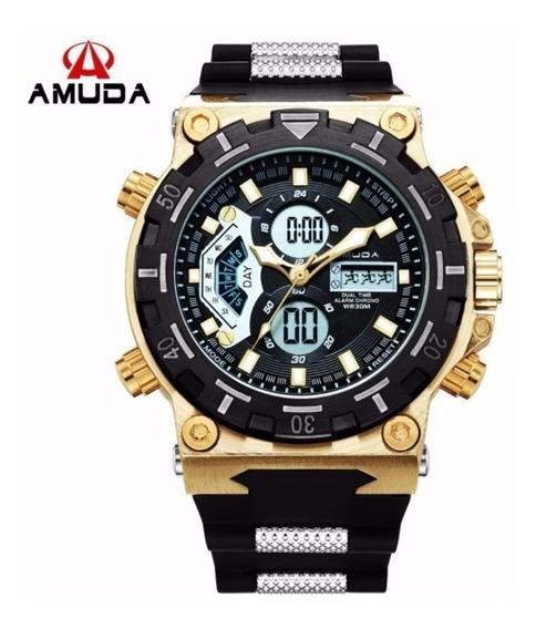Relógio Masculino Original Amuda Am5002 Grande