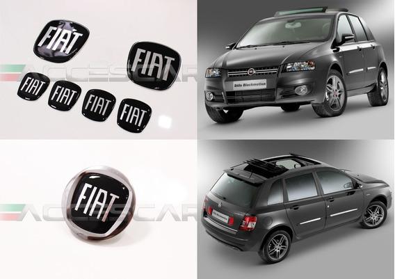 6 Adesivos Emblema Fiat Preto Stilo 2008 ( Frete Fixo )