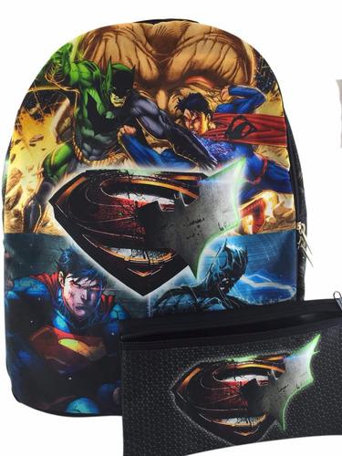 Morral + Cartuchera Comic Batman Vs Superman Maleta Nueva