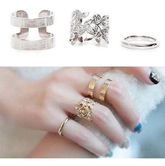 3 Anéis Dourados + 3 Anéis Prateados (falange) Frete Grátis