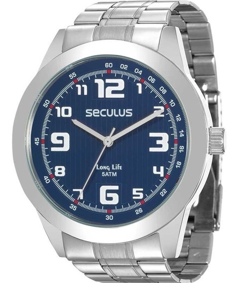 Relógio Seculus Masculino Analógico Prata Azul 28887g0svna1