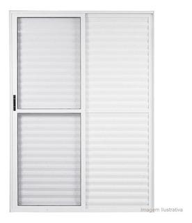 Porta Balcão 3 Folhas 210x150 Alumínio Branco Linha 25