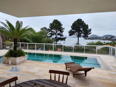 Maravilhosa Casa! Vista Panorâmica Para O Mar Em Cacupé Florianópolis Sc. 3 Suítes (1 Master 2 Closets), Varanda, Esp Gourmet, Piscina, Adega, Lareira - Ca0728