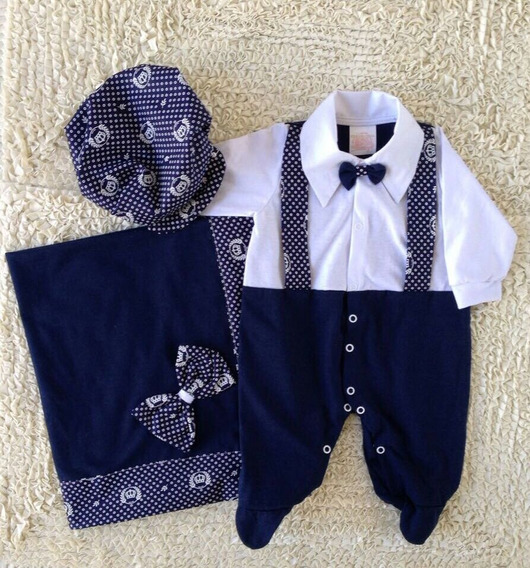 Saida De Maternidade Menino Azul Realeza Suspensório