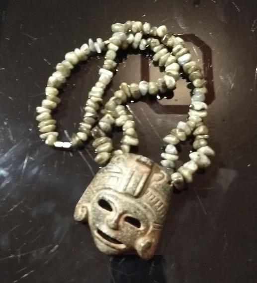 Dije Máscara Antigua De Piedra, Collar Chips De Labradorita.