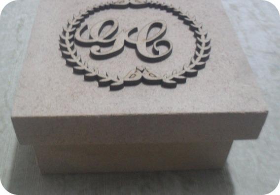 5 Caixas 15x15x5 Mdf Crú Casamento Brasão E Iniciais