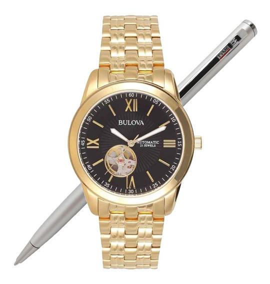 Relógio Bulova Masculino Automático Dourado Wb32004u C/ Nfe