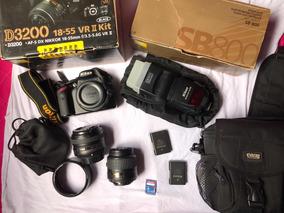 Câmera Nikon D3200 + 50mm + 18-55mm + Flash (kit Completo)
