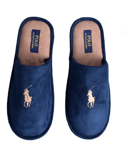 Pantufla Polo Ralph Luaren Para Caballero Color Azul Marino