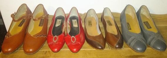Lote De Zapatos Niña Cuero Vintage Antiguo