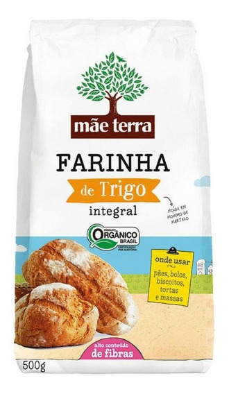 Farinha De Trigo Integral Orgânica Mãe Terra Pacote 500g
