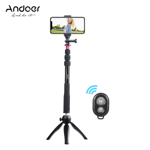 Andoer Selfie Stick + Mini Tripé + Tripé Do Telefone +