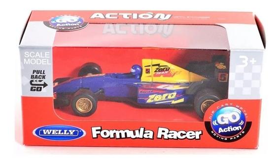 Autos Formula 1 Racer Pull Back Go Action Welly Escala 1:36