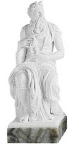 Escultura Moisés De Michelangelo Po Marmore 30cm Made Italy