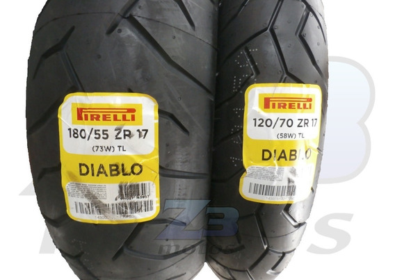 Pneu Pirelli 180/55-17 E 120/70-17 - Traseiro E Dianteiro