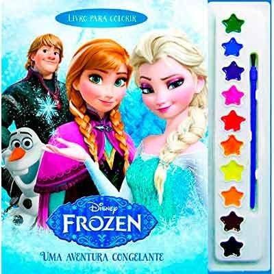 Frozen Livro Pintar Colorir Infantil C/ Aquarela E Pincel