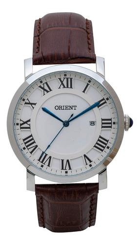 Relógio Orient Masculino Mbsc1035 S3nx Aço Couro Marrom