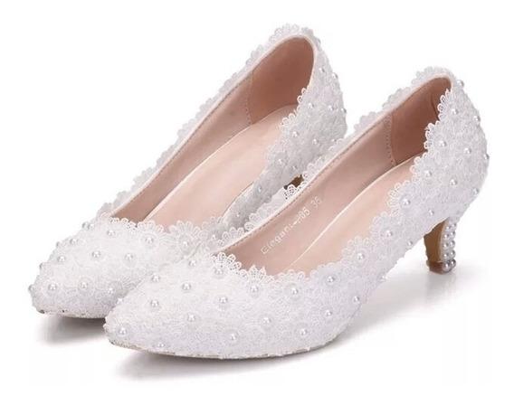 Sapato Scarpin Noiva Renda Guipir Perola Festa 15 Anos Rosa
