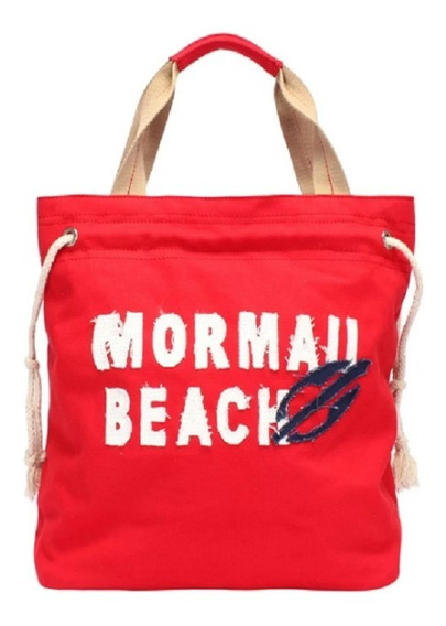 Bolsa Canvas Com Aplique Bordado Mormaii Vermelha Original