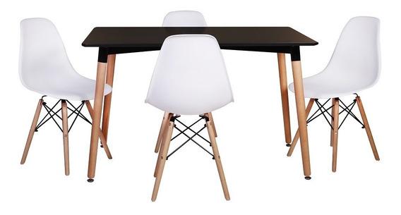 Kit Mesa Jantar Eiffel 120x80cm Preta + 4 Cadeiras Eiffel