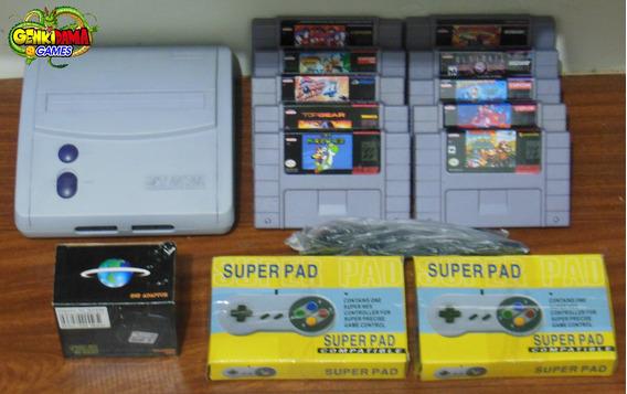 Snes Super Nintendo Completo Branquinho + 10 Jogos