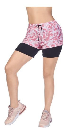 Short Deportivo Mujer Correr Entrenar Bicolor Rosa-negro