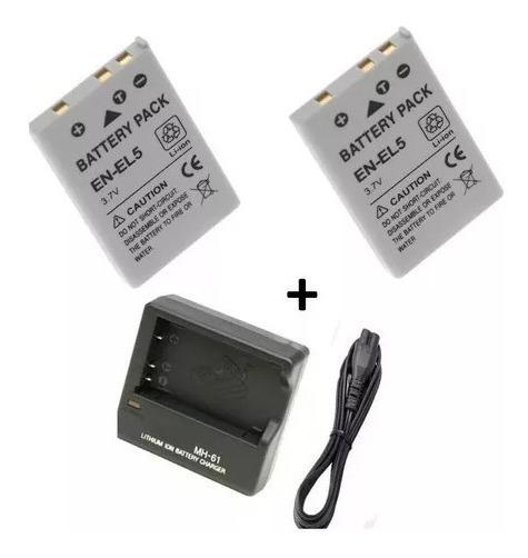 2x Bat Nikon En-el5 Altern P530 P520 P510+carregador Gratis