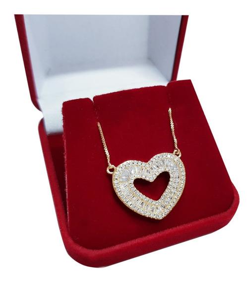 Colar Coração Feminino Cristal Banhado Ouro 18k Semi Jóia