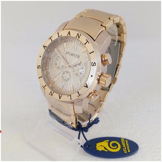 Relógio Masculino Atlantis A3310 Dourado Original Tipo Bugary Frete Gratis