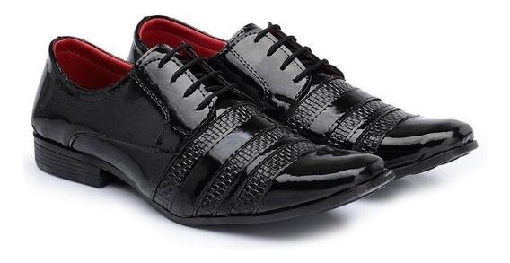 Sapato Social Masculino Verniz Leve Moderno Conforto