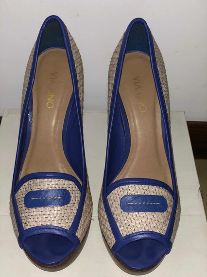 Zapato Vía Uno. Cuero Azul Y Yute. Talle 38 (24.5)impecable