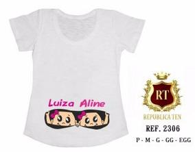Camiseta Gestante Bebê Espiando Gêmeos Personalizada T-shirt