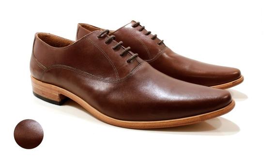 Zapato Hombre Oxford Cuero Marrón Diseño Romeo By Ghilardi
